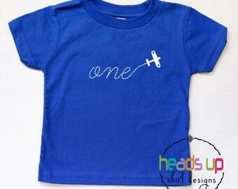 First Birthday Airplane Shirt - Boy/Girl One Airplane Birthday tshirt - Baby Bodysuit 1st Birthday Airplane - Trendy B-Day t shirt 1 - Gift