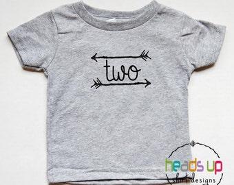 Two Birthday tshirt Toddler Boy/Girl - 2nd Birthday Shirt Arrow - Second Bday Tee - Trendy Birthday Shirt Two - 2 Birthday t-shirt - Gift