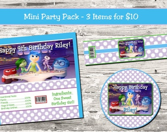 Inside Out Birthday Party Mini Party Pack Candy Wrapper Water Bottle Label Cupcake Topper Digital Printable