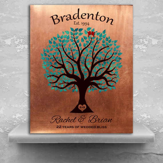 22nd Wedding Anniversary Gift Ideas: 22nd Anniversary Personalized Traditional Wedding Tree Faux