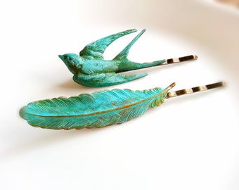 Patina Sparrow And Feather Bobby Pin Set Woodland Hair Clips Gift for Her Women's Gift
