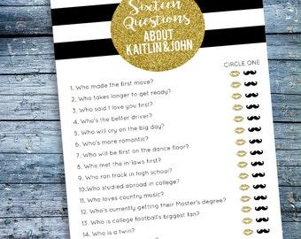 Bridal Shower Quiz Bride and Groom Trivia Black White & Gold Confetti Spade Printable Game 5x7