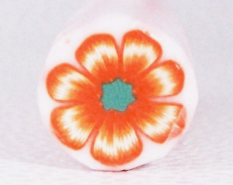 Orange and green flower cane / Polymer clay
