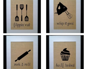 Funny Kitchen Prints, Burlap Kitchen Prints, Kitchen Wall Prints, Kitchen Art Prints, Kitchen Print Set, Rustic Kitchen Prints, Primitive