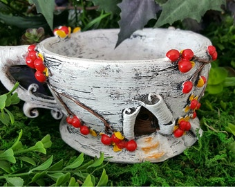 Miniature Teacup Planter - Birch Bark