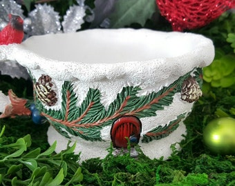 Miniature Teacup Planter - Red Cardinal and Pine Boughs