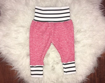 BABY LEGGINGS; red french terry, black and white stripes