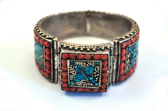 Bracelet tibétain népalais, Turquoise corail