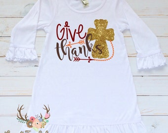 Girls Thanksgiving Dress - Baby Girl Thanksgiving Dress - Toddler Girl Thanksgiving Dress - Girls Thanksgiving Outfit - Give Thanks Dress