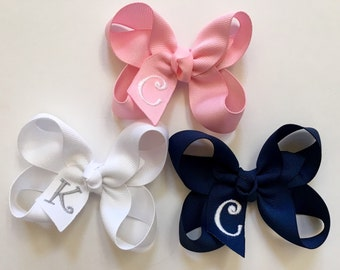 Set of 3 or 5 Small Monogrammed Hair Bows…Personalized 3 inch Boutique Bows with Initial…You Choose Colors!!