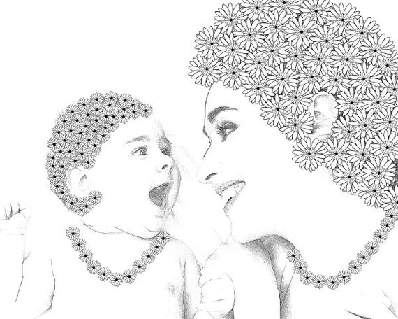 Coloring pages baby and mom for Mom and baby coloring pages