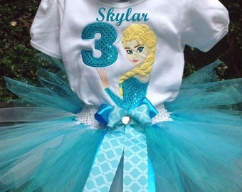Frozen Elsa 3rd Birthday Outfit Onesie Tutu FREE Hair Bow Personalized