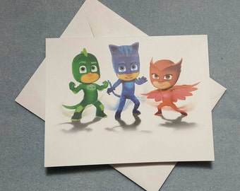 PJ Masks Note Cards, Thank You Cards, Invitations, Notecards, Birthday Party, Set of 6 or 12 with Envelopes
