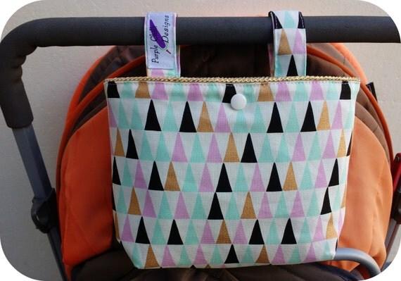 Pram caddy / pram organiser / mini wet bag / Makeup Bag - golden piping
