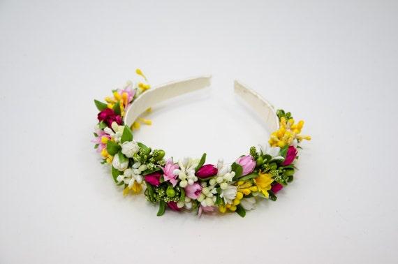 Colorful flower headband / spring floral crown / Vinok / pink white yellow headpiece / wedding hair accessories/ ukrainian headband