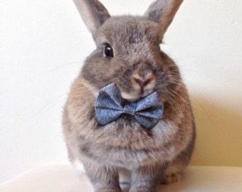 Textured grey bow tie for bunnies, pet rabbit bows, pet rabbit accessories, pet rabbit clothing