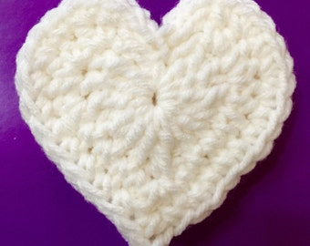 Crochet Heart, Large Crocheted Heart, Heart Appliqué, Set of 5