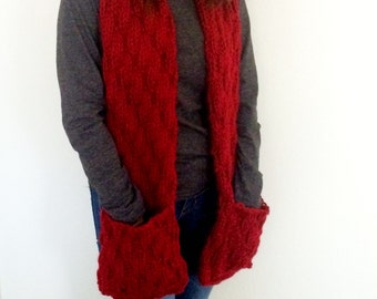 Long Scarf With Pockets, Hand Knitted Scarf With Pockets, Red Knit Scarf, Long Knit Scarf With Pockets, Chunky Knit Scarf