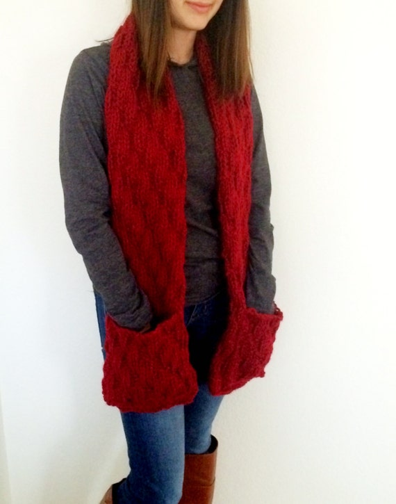 Knitting Pattern Scarf With Pockets : Long Scarf With Pockets Hand Knitted Scarf With Pockets Red