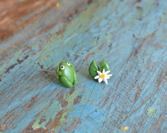 Chips frog and Lily pad earrings