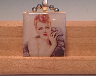 Beautiful bombshell blonde, scrabble tile pinup girl, pinup girl scrabble tile pendant, scrabble tile pendant