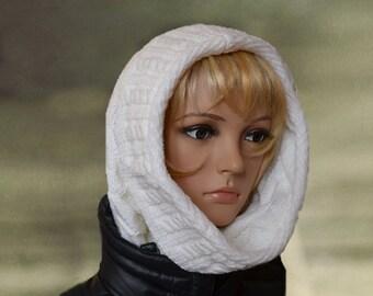 Winter knit cowl,Hand knit hood,White cowl scarf,Neckwarmer wool,White loop knit,Winter circle scarf,Womens knit hood,Knit crochet cowl