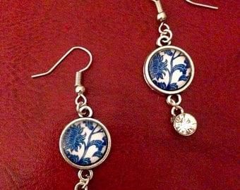 Silver china dangle and drop gem earrings