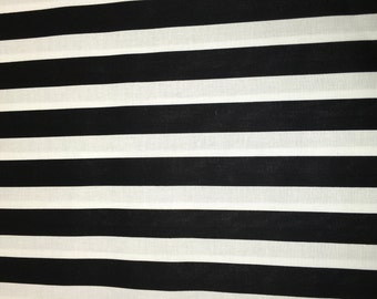 Black & Gold White Striped Floral Apparel Quilting 100% Cotton Fabric 1 Yard