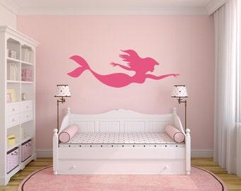 Mermaid Wall Decal, Mermaid Wall Sticker, Mermaid Home Interior Design Baby Girl Nursery Room, Mermaid Wall Art, Ocean Mermaid Theme.