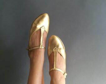 Vintage 1950s GOLD barbettes T-STRAP mary jane dance shoes 6/7