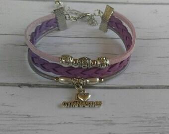 Girls Gymnastics Bracelet// Friendship Bracelet// Team Colors// Gymnastics Mom// Gymnastics Gift// Choose  Colors & Sports Charm