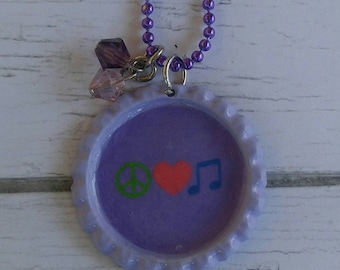 Girls Sports Jewelry// Bottlecap Necklace// Peace Jewelry// Peace Sign// Peace Gift// Music Note Necklace// Peace Party Favor