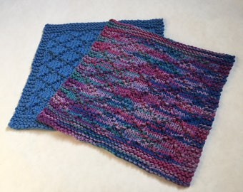 Hand Knitted Cotton Dishcloths, Set of 2