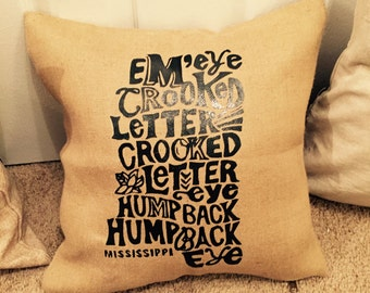 Mississippi Burlap throw pillow