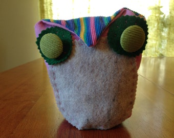 Pink & Green Stuffed Owl