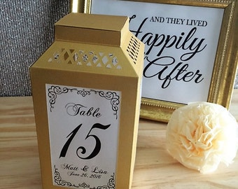 Table Numbers /  Wedding Centerpiece / Paper Lanterns / Luminaries / Rehearsal Dinner Decorations / Rustic Lantern / Table Decorations