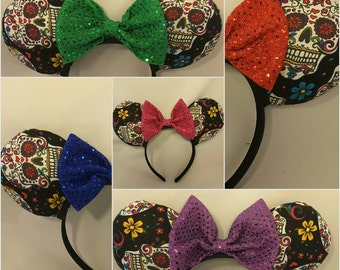 Mouse Ears- Minnie Mouse Ears- Mickey Mouse Ears- Bows- Skull- Sugar Skull- Day of the Dead- Disney Epcot Mexico Inspired
