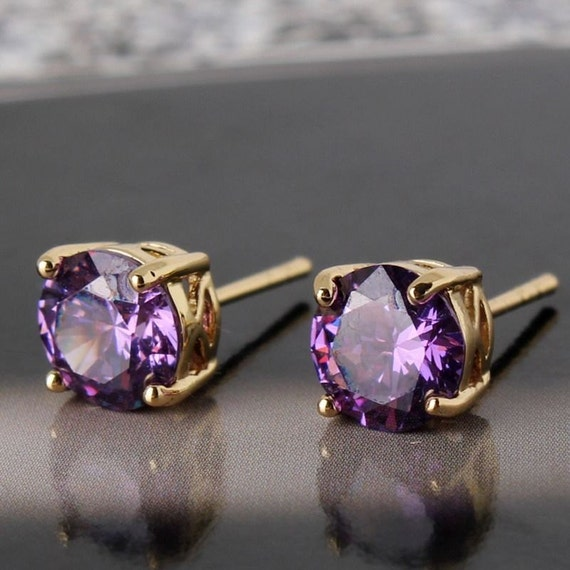 Lovely 24 ct yellow gold filled purple sapphire crystal stud earrings