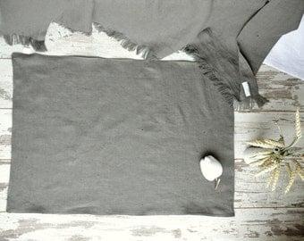 Simple soft Linen rug - Double-layered feet mat - Rough thick linen bath mat - Natural grey Bath linen rug - Natural rug