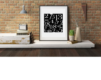 Typography A4 Poster, Print on Paper  Numbers  Quotes,  Modern Wall Art, Home Decor Unframed