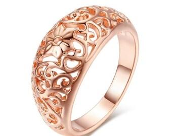 Ladies gold ring rose gold 18 K Gold GP