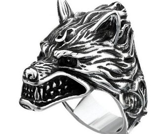 Wolf ring stainless steel 316L titanium steel for him and her (TI-004)