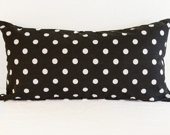 One Lumbar Pillow Cover, Black with White Polka Dot Pillow Cover, 12 x 24 Black and White Pillow Cover