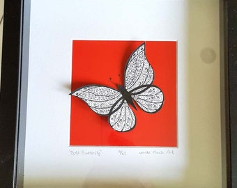 Bold Butterfly. Limited edition box-framed print from original illustration