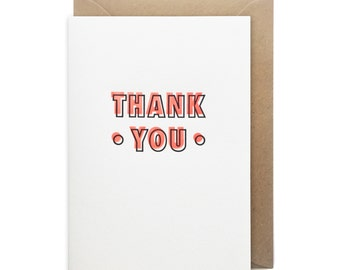 Thank you card, letterpress, handmade - Neon thank you - FREE UK DELIVERY