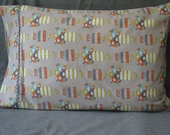 More Fun Than a Barrel of Monkeys cotton flannel standard size homemade pillowcase