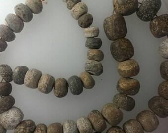 Woolly Mammoth Bone Beads / 10 Bone Beads / Rondelle Beads / 12-25mm