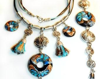 """Jewelry set """"Penelopa"""". Polymer clay jewelry bracelet. Polymer clay jewelry Necklace"""
