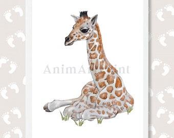 Giraffe Print Safari Nursery Art Baby Animal Print Giraffe Watercolor Painting Zoo Digital Download Instant Download Safari Printable Art