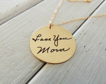 "Handwritten Necklace .75"" Circle Pendant - Favorite Quote Necklace - YOUR HANDWRITING - or text -14k Yellow Gold Filled- Or Sterling Silver"